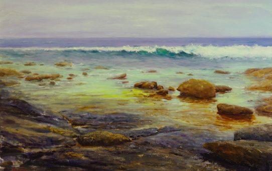 Wave breaking onto rocks at Augusta, south Western Australia