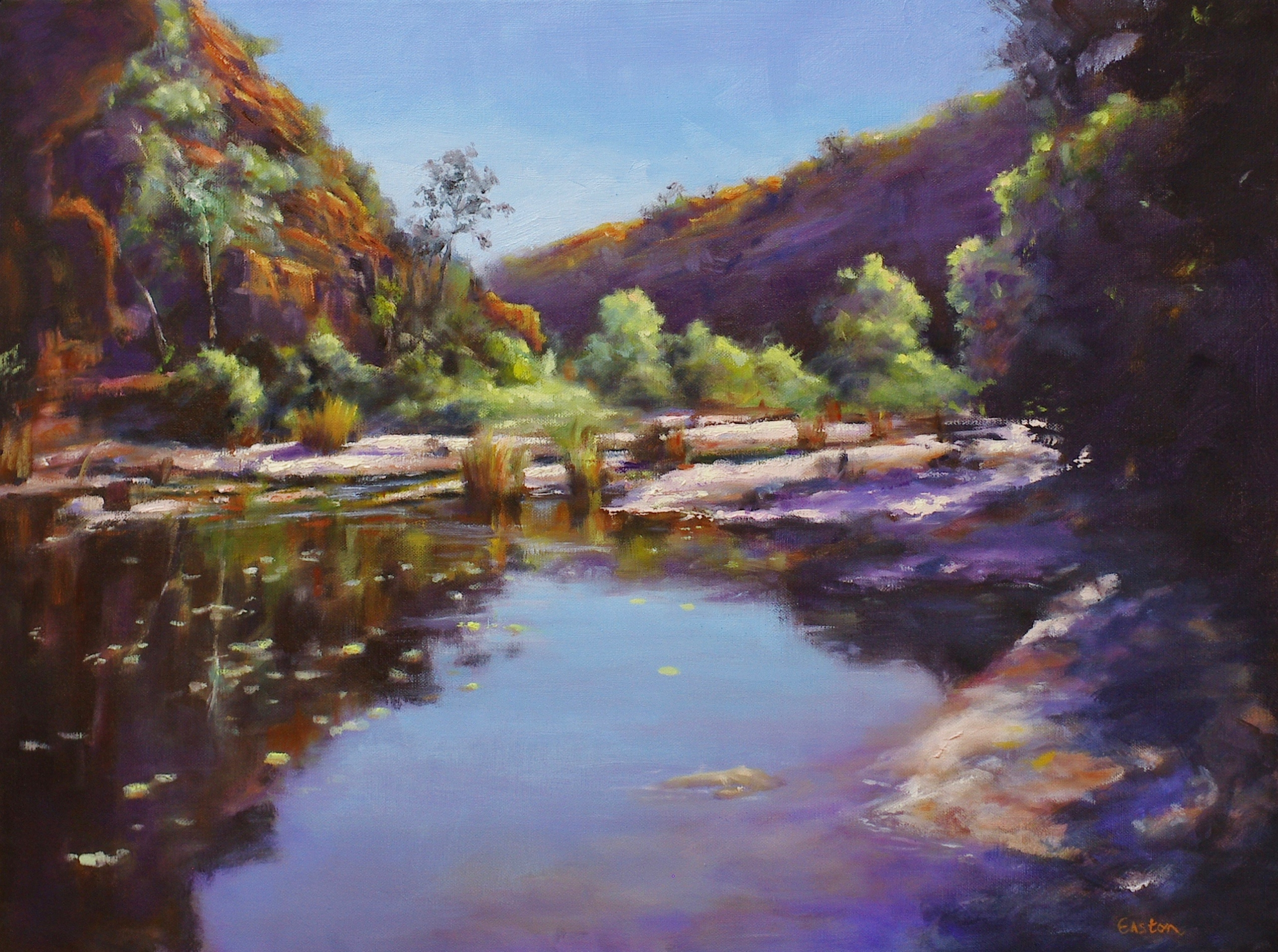 Oil painting Dales Gorge from Fortescue Falls, Western Australia