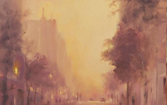 cityscape, morning haze, Hobart, morning glow