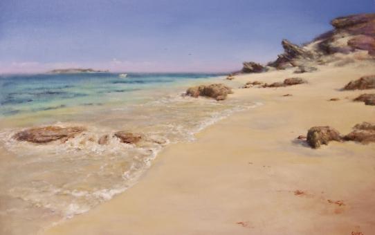 hamelin bay, seascape, waters edge, waves, rocks, sand