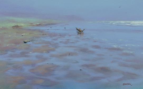 Oil painting Otaki beach, New Zealand seascape, low tide
