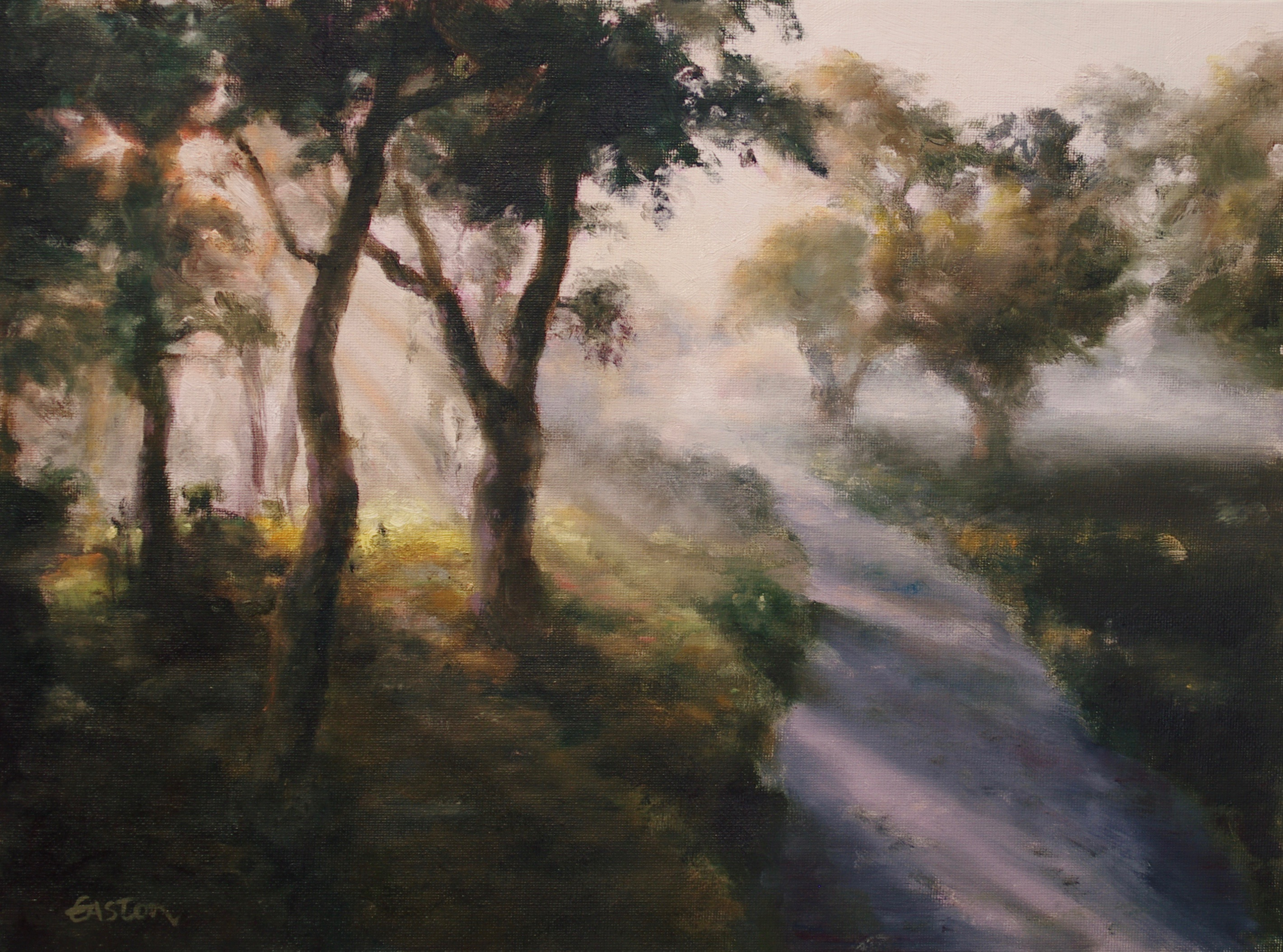 Early morning mist, oil painting