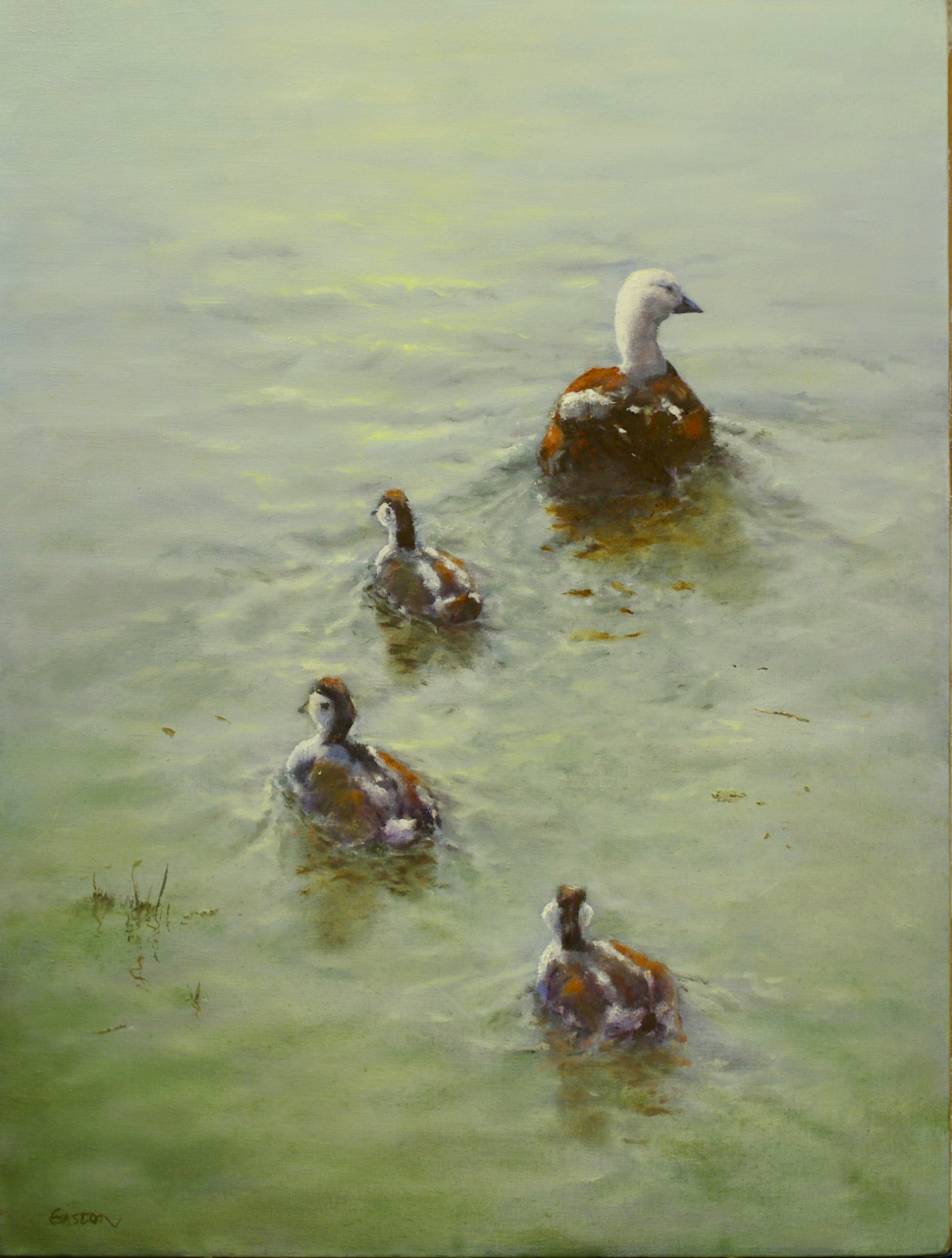 Oil painting duck and ducklings paddling on water