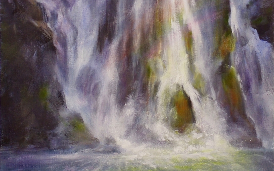 Oil painting Stirling Falls Milford Sound New Zealand waterfall