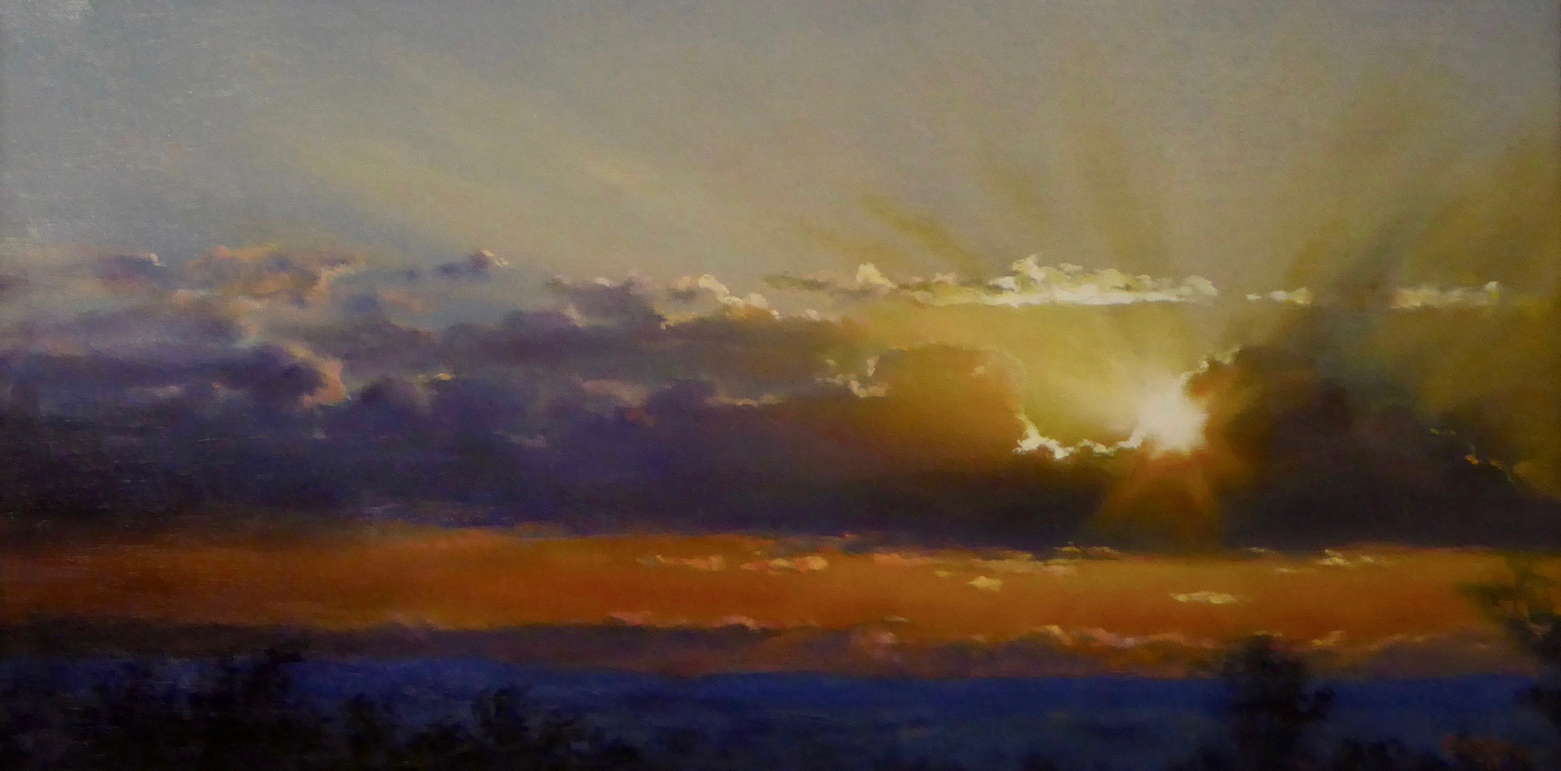 Early morning sunrise bursting through clouds. Oil painting on marine ply.