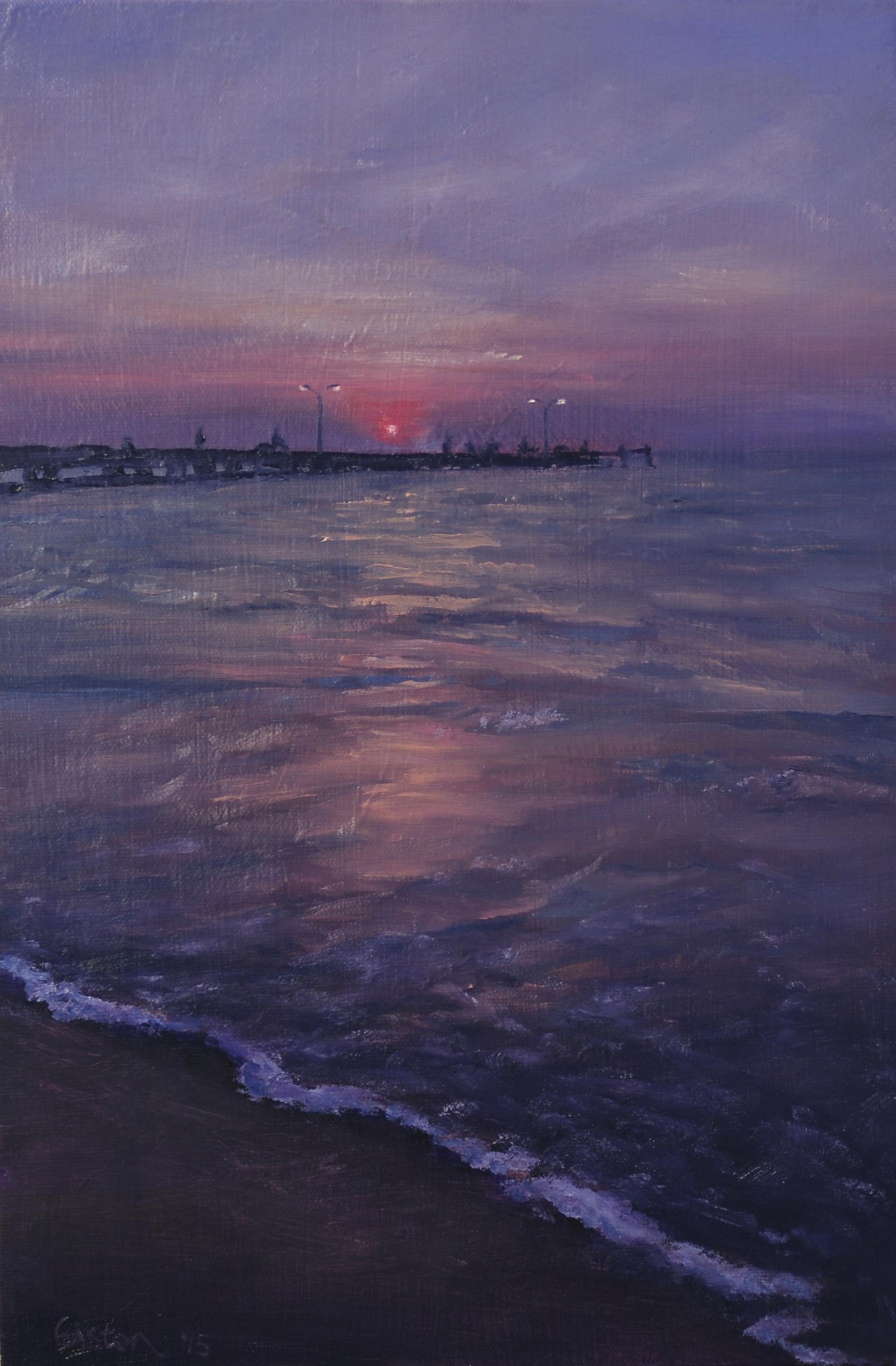 sunset, beach, jetty